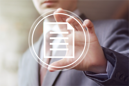 Businessman holding a floating document icon