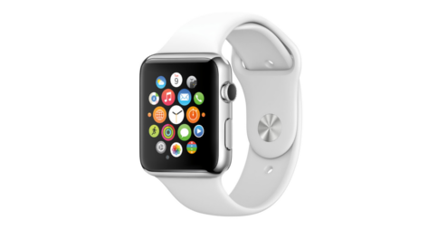 Apple Watch with sport band. App icons displayed on screen