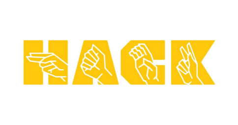 HACK logo with American Sign Language hand signs