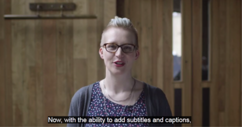 "Woman speaking with the caption ""Now, with the ability to add subtitles and captions"". Image credit: Kickstarter blog"