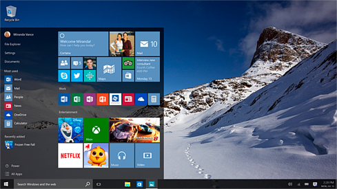 Windows 10 desktop with the Start menu expanded