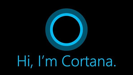 "Cortana logo above the text ""Hi, I'm Cortana."""