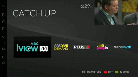 ABC iview in focus on the 'Catch up' menu in FreeviewPlus. Image credit: Freeview.com.au