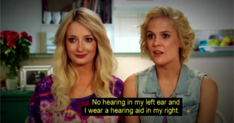My Kitchen Rules 2015 contestants Sheri & Emilie with the caption: 'No hearing in my left ear and I wear a hearing aid in my right.'