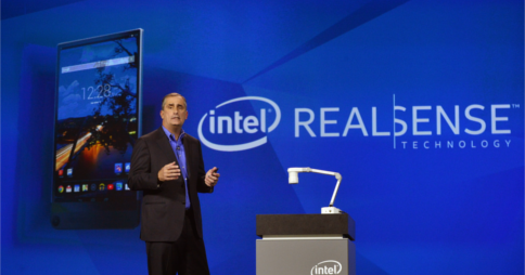 Intel's CEO Brian Krzanich demonstrating Intel RealSense during his keynote speech at CES 2015. Image credit: Intel