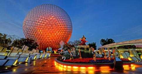 Spaceship Earth structure at Walt Disney World's EPCOT theme park, illuminated at night