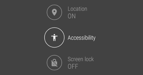 Accessibility icon highlighted in Android Wear 5.1.1 (under Location and above Screen Lock)