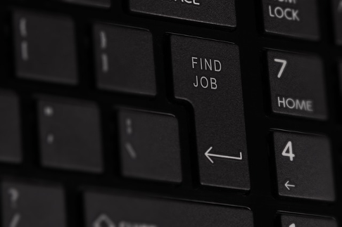 Computer keyboard with 'Find Job' button in the shape of the Enter key