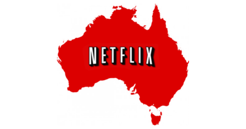 Netflix logo placed inside the shape of Australia