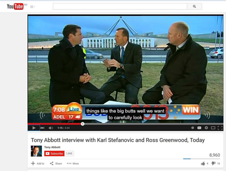 "YouTube auto-caption for Tony Abbott reads ""things like the big butts well we want to carefully look"". Image credit: ACCAN via Facebook"