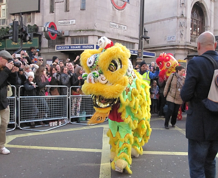 Southern Lion (Style: Fut San) in the Chinese New Year Parade 2014, London. Leicester Square London (Chinatown), UK, Feb 2014. Image credit: Dawning Leung