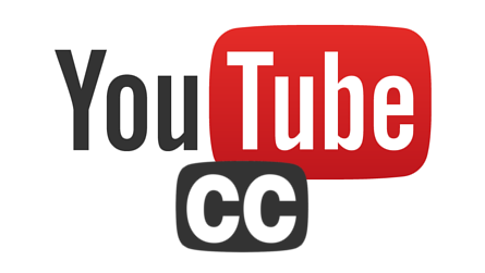 YouTube logo alongside the Closed Captioning (CC) logo