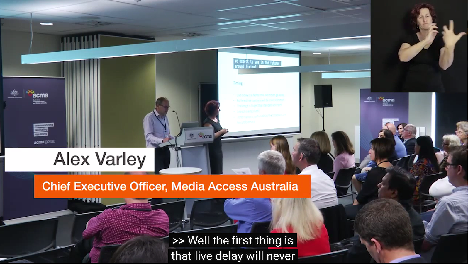 Alex Varley, Chief Executive Officer, Media Access Australia presenting at the ACMA Citizen Conversation on live captioning. Image credit: Highlights from 'Live captioning: let's talk', part of the Citizen Conversation series
