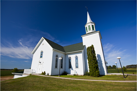 Exterior shot of a church during the day