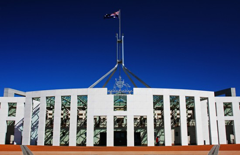The front of Parliament House in Canberra