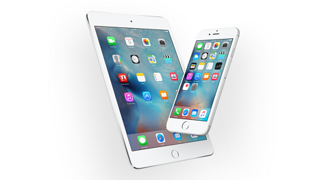 Apple iPad Pro and iPhone 6S with iOS9 home screen displayed