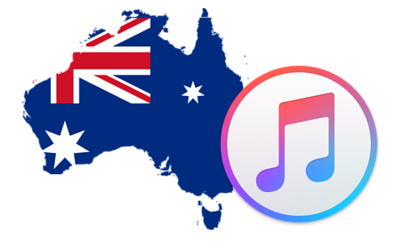 Australian flag in the shape of Australia next to the iTunes logo