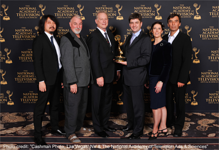 Members of the W3C Timed Text Working Group holding an Emmy. Image credit: Cashman Photo, Las Vegas, NV & The National Academy of Television Arts & Sciences
