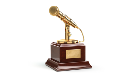 Golden microphone trophy