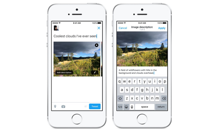 "Two screen shots of the composer for Twitter on iOS. The first showing the new ""Add description"" button overlayed on an image thumbnail in the composer, and the second showing the composition of alt text for an image. Image credit: Twitter"
