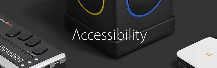 A selection of Apple's accessibility accessories with the word 'Accessibility' in the centre