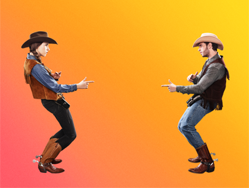 A cowgirl and a cowboy point fingers at each other