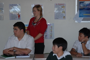 Teacher Georgina Gandy wearing Soundfield system microphone