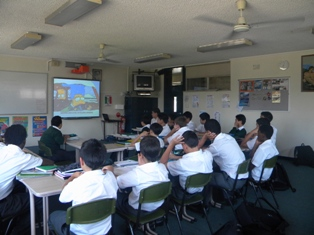 Students watching captioned DVD