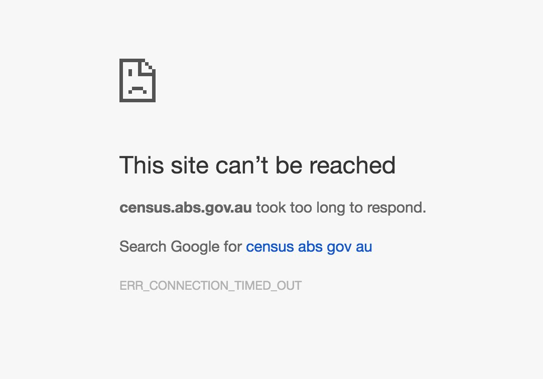 Image of Census 'This site can't be reached' message