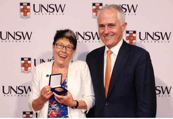 Kim Ryan with her 2016 award and PM Malcolm Turnbull