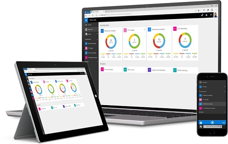Dsktop computer, tablet and phone showing Microsoft Planner interface