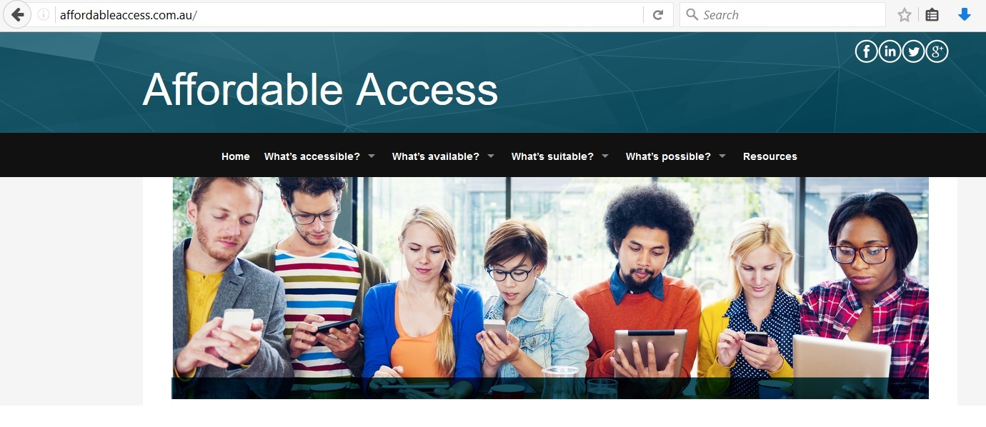 Screen grab of the Affordable Access website showing 7 people using devices