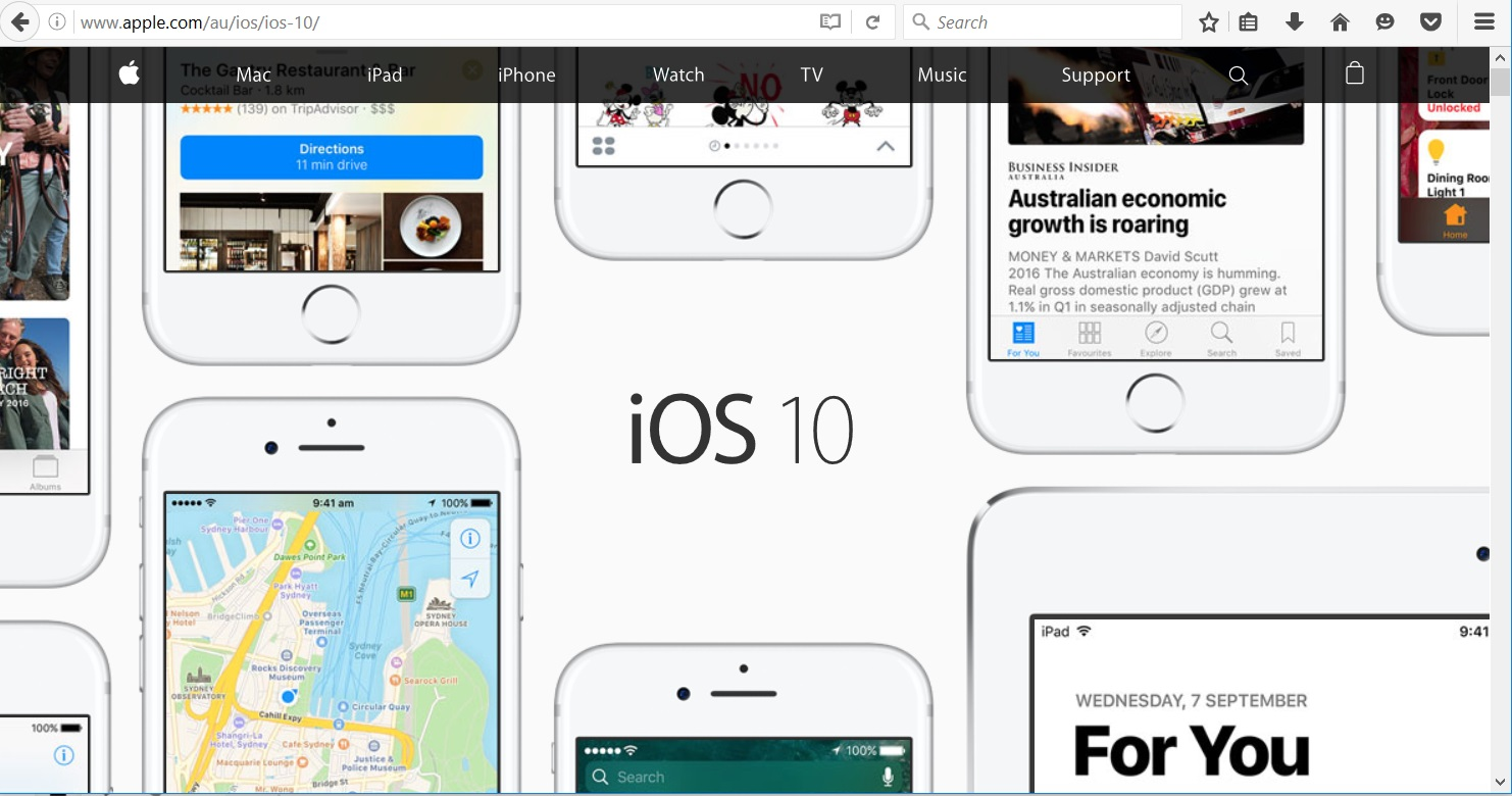 Screen shot of Apple iOS 10 home page