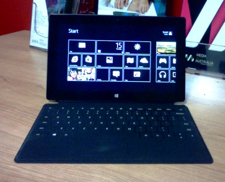 The Surface with the Touch cover connected and a high contrast colour scheme enabled.