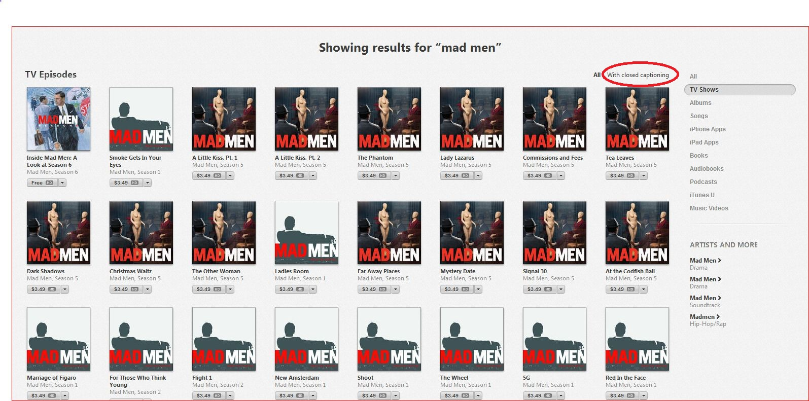 "A screen shot of ""Mad Men"" episodes in iTunes with the ""With closed captioning"" option highlighted."