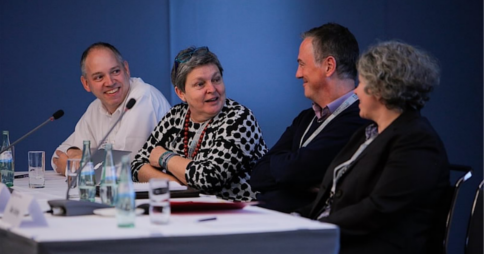 From left to right: John Birch, Pilar Orero, David Padmore & Frauke Langguth at the Languages & The Media Conference 2014. Credit: ICWE GmbH / Mark Bollhorst
