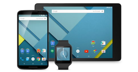 Graphic of a smartphone, smartwatch and tablet device running Android 5.0 Lollipop