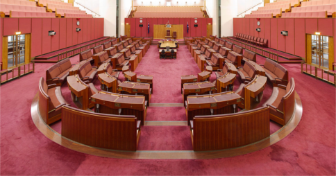 Senate chamber in Parliament House, Canberra