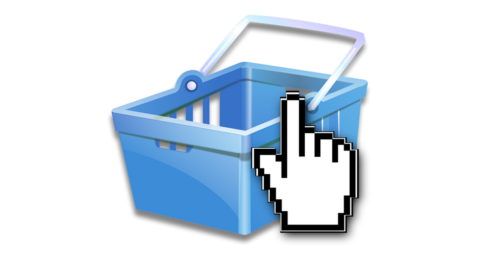 Computer mouse finger cursor over a shopping basket